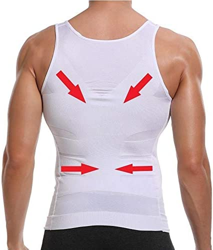 CHJMJP メンズボディスリムおなかシェイパーベリーコントロールボディニッパーモデルの下着ウエストトレーナー胸是正姿勢ベストコルセット (Color : 白, Size : XL)