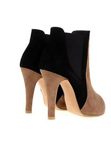 air Chaussons Chaussons Chaussures Rond décontracté Stiletto Bout Femme en Citior Talon Bottes gris Plein pour pour à Femme Bottes wIqAza41