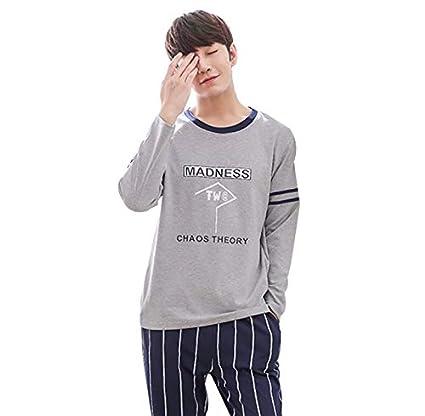 067f6a383 Pijamas algodón 100% para Hombres jóvenes Vestidos caseros de Manga Larga,  Cuello Redondo,