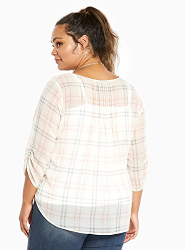 Plaid Print Chiffon Pleated Top