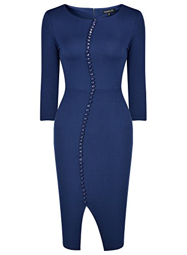 Rephyllis 3/4 Vêtements Bouton Manches Des Femmes Au Travail Bleu Moyen Robe De Bureau D'affaires