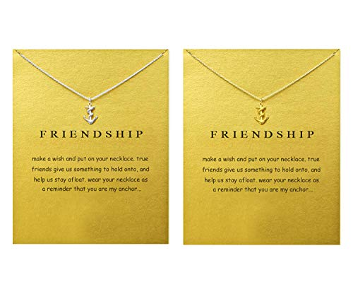 LANG XUAN Message Card Anchor Pendant Necklace Friendship Compass Good Luck Elephant Pendant Chain Necklace with Gift Card