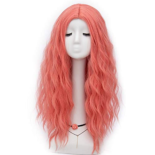 Labeauté Luna Pure Collection Halloween Party Curly Wig 60cm Long Full Hair Wigs for Women (Watermelon Red F25) -