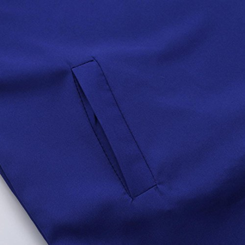 Mujer Fiesta Azul O Sólido WINWINTOM Bolsillos Verano Corta Manga Vestir 2018 Cuello Hot Vestidos Primavera Casual Mini rqwxra46