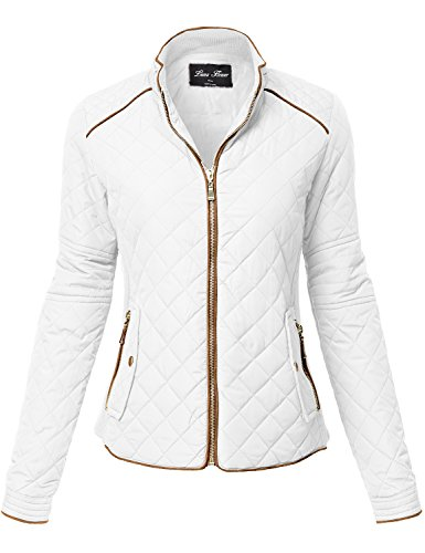 Luna Flower Women's Winter Quilted Padding Vest Long Sleeve Warm Jackets Off_White L