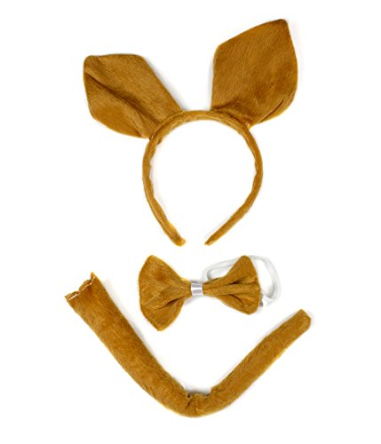 Brown Kangaroo Headband Bowtie Tail 3pc Costume for Children Halloween or Party -