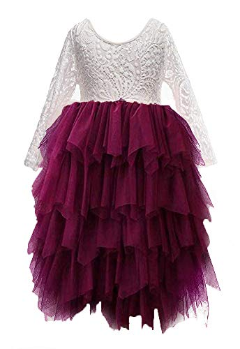 Topmaker Backless A-line Lace Back Flower Girl Dress (4T, Non-Beaded-Sleeve Burgundy) -