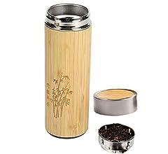 Doble Pared Aislante Vacio Eco,Bio Con Tapa Bamboo a Rosca Caf/é Llevar Botella Termica Bambu ♻ Termo Ecologico de Bamb/ú y Acero Inoxidable Sin BPA Filtro Colador T/é - Agua Apto Lavavajillas