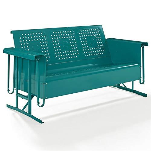 Crosley Bates Metal Gliding Patio Sofa in Turquoise (Metal Glider Sofa)