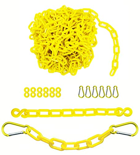 Reliabe1st 26 Feet Yellow Plastic Safety Barrier Chain with 6 S-Hooks and 6 Carabiner Clips   Caution Security Chain Safety Chain for Crowd Control, Construction Site   Safety Barrier