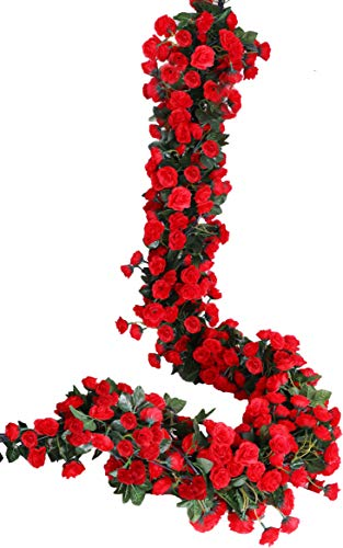 Lannu 2 Pack Artificial Rose Vine FlowersFake Garland Ivy Flower Silk Hanging Garland Plants for Home Wedding Party Decorations, ()