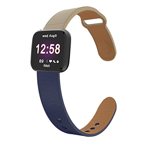 - KTcpt Bands for Fitbit Versa/Versa Lite Edition and Versa Special Edition,22mm Leather Band Replacement Accessories Strap for Fitbit Versa Smart Watch, Women Men (Creamy-White+Navy Blue)