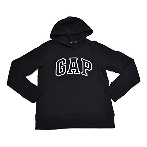 GAP Womens Fleece Arch Logo Pullover Hoodie (Black, Small)