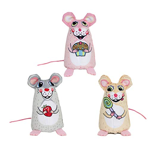 - FUZZU Sweet Baby Mice Cat Toys with U.S. Grown Certified Organic Catnip Collection - Set of 3: Lolli Mouse, Sweetie Mouse, and Cupcake Mouse