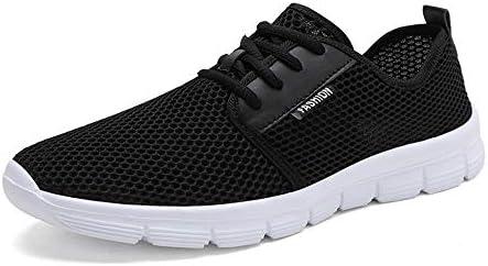 男性用ファッションスニーカースポーツシューズレースアップメッシュ通気性軽量通気性クッションランニングカジュアルな丸いつま先 YueB HAS (Color : ブラック, サイズ : 23.5 CM)