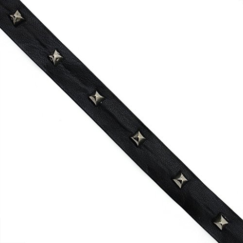 Black Leatherette Strap with Dark Copper Coloured Studs Trim - 2 metres