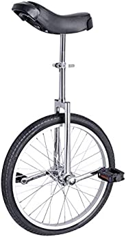 Poer 24 inch Wheel Unicycle with Adjustable seat Height Leakproof Butyl Tire Cycling Self Balancing Exercise B