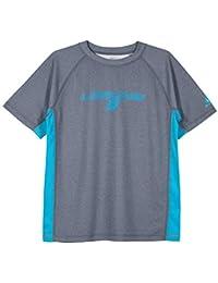 LAGUNA Boys Crewneck Short Sleeve Loose Fit Rashguard Swim Sun Tee Shirt, UPF 50+, Navy Blue/Blue, 18/20