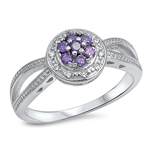 Simulated Amethyst Unique Flower Criss Cross Ring .925 Sterling Silver Band Size (Cross Amethyst Sterling Silver Bands)