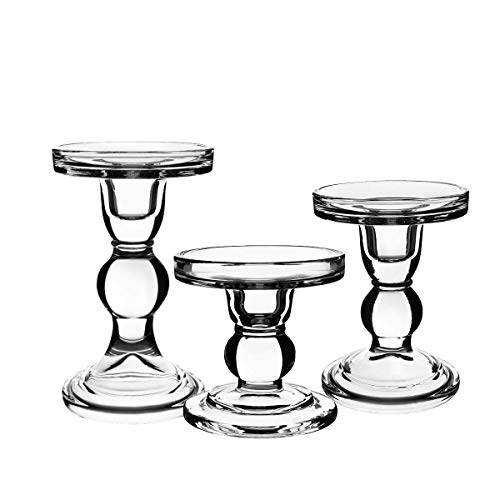 (CentAnni Essentials Clear Glass Candle Holders Set of 3 for Pillar Taper & Tealight Candles, Perfect Decoration Candlesticks)