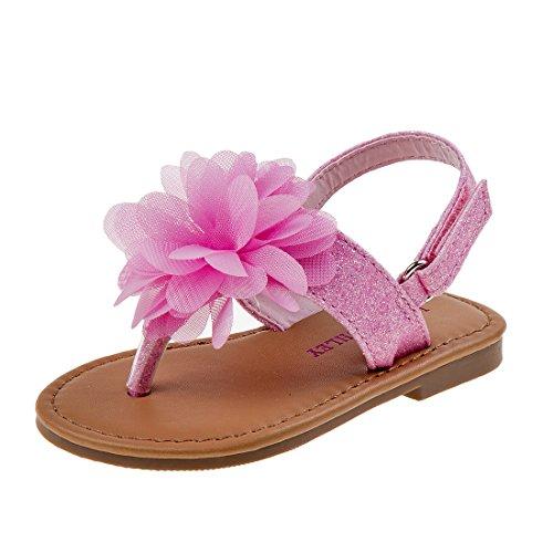 (Laura Ashley Girls Glitter Sandal with Flower, Pink, 10 M US Toddler')