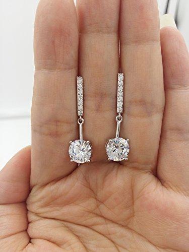 Sbling Oxyde de Zirconium Plaqué platine Boucles d'oreilles pendantes (4.25carat au total)