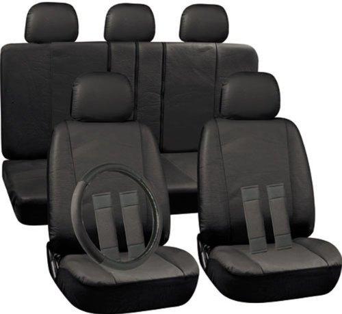 OxGord 17pc Leatherette Seat Cover Set, Airbag Compatible, for PONTIAC GRAND PRIX, Black