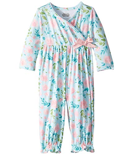 Mud Pie Baby Girl's Floral Convertible Gown (Infant) Blue 3-6 Months ()