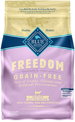 Blue Buffalo Freedom Grain Free Natural Indoor Kitten Dry Cat Food, Chicken 5-lb.