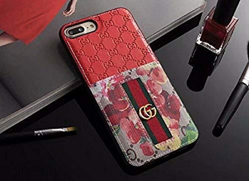 iPhone 7 Plus/8 Plus Case - Elegant Luxury PU Leather Designer Anti-Scratch Case with Card Holder Slot Cover for iPhone 8 Plus 7 Plus (Elegant Red)