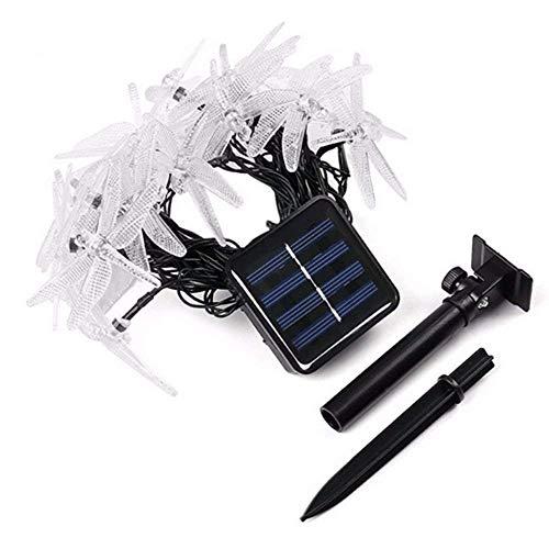 Peaubogo 30 LED Dragonfly Solar String Lights Waterproof Fairy Lighting Outdoor Garden Landscape Decoration (Warm White) ()