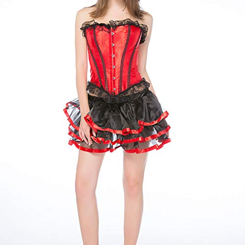 Women's Sexy Lace Brocade Corset Bustier Shapewear Lace Up Overbust Corset +Thong +Tutu Skirt Sets 3Pc Outfits Red