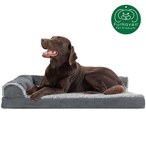 Furhaven Pet Dog Bed | Deluxe Orthopedic Two-Tone Plush Faux Fur & Suede L Shaped Chaise Lounge Living Room Corner Couch Pet Bed w/ Removable Cover for Dogs & Cats, Stone Gray, Large