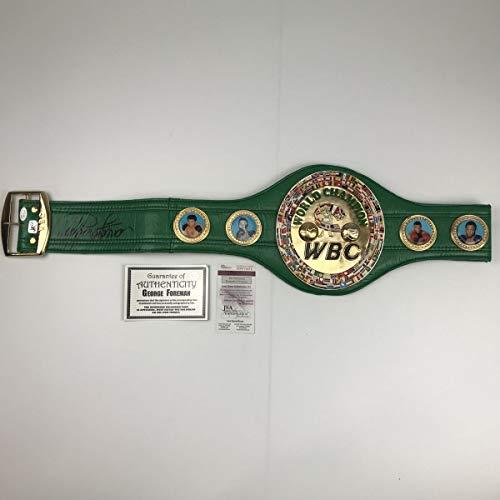 Autographed/Signed George Foreman WBC Green Boxing Replica Championship Belt JSA COA