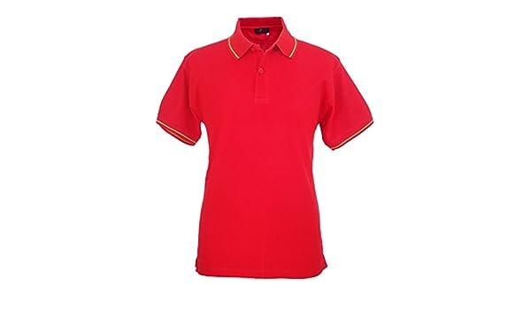 Pi2010 - Polo España Hombre con Bandera en Cuello y Mangas, Rojo, 100% algodón Talla S: Amazon.es: Ropa y accesorios