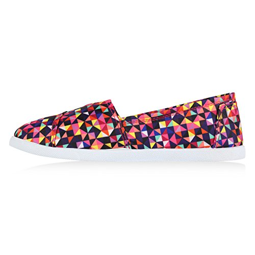 Stiefelparadies Damen Espadrilles Bast Slipper Glitzer Streifen Sommer Schuhe Flandell Mehrfarbig Neonpink