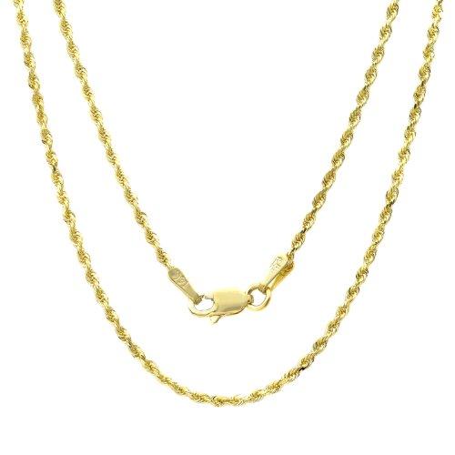 14k Yellow-gold 1.5 mm Diamond-cut Rope Chain, 16 Inch by Roberto Martinez