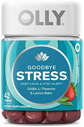 OLLY Goodbye Stress Gummy, 21 Day Supply (42 Count Gummies), Berry Verbena, GABA, L Theanine, Lemon Balm, Chewable Supplement