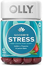 OLLY Goodbye Stress Gummy, 21 Day Supply (42 Count Gummies), Berry Verbena, GABA, L Theanine, Lemon Balm, Chewable Supplemen