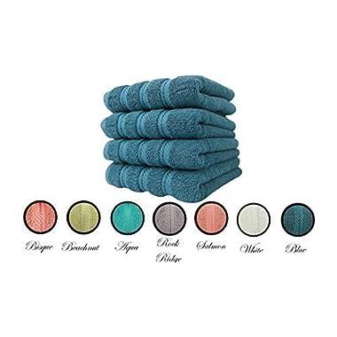ANTALYA HAND TOWEL SET OF 4, Blue, MADE IN TURKEY, 2 PLY YARN