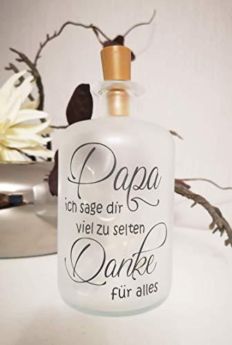 Dekoflasche mit Beleuchtung - Papa Mama Danke LED Leuchte Leuchtflasche Bottlelight Lichterkette Geschenk Flaschenlicht Vatertag Homedeco