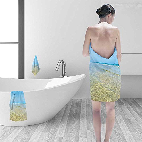 Printsonne 100% Cotton Super Absorbent Bath Towel Collection Bright Crystal Sea Water in The Island with Sky Landscape Nature Endless Fast Drying, Antibacterial ()