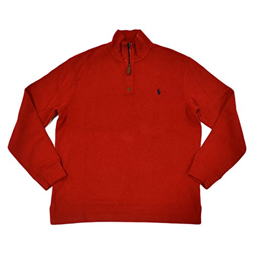 (Polo Ralph Lauren Mens 1/4 Zip Pullover Sweater-Madison Red-Small)