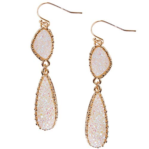 - Humble Chic Simulated Druzy Drop Dangles - Gold-Tone Long Double Teardrop Dangly Earrings for Women, Simulated Opal, Sparkly Pearly White, Opalescent, Simulated Moonstone, Gold-Tone