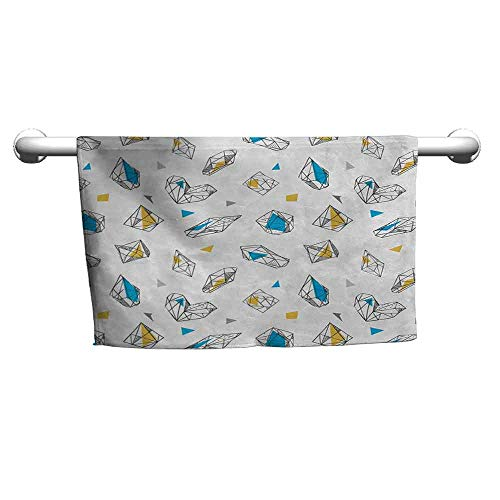 duommhome Abstract Water-Absorbing Bath Towel Geometric Crystal Figures with Triangles Circles Dimension Lines Print W10 x L10 White Sky Blue Yellow