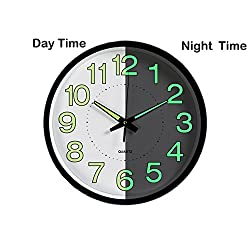 Reliable_E Night Light Function,12-Inch Wall Clock Non-Ticking Large Luminous Number Battery Operated