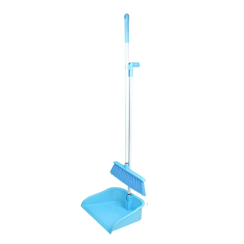 Family Soft Hair Plastic Broom Combination -33.4/29.5 Inch Long Handle Single Broom Trash Can Combination And Dust Pot Stand Upright Grip Whisk Group For Home, Office. by Broom&Dustpan