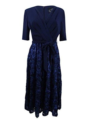 Alex Evenings Women's Tea Length Dress with Rosette Skirt and Tie Belt, Navy, (Bride V-neck Dress)