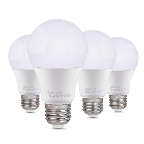 Albrillo E26 LED Bulb 9W, 60 Watt Equivalent, 5000K Daylight White, 4 Pack