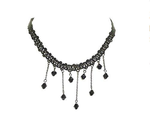 Perler Ornaments (Adorable Woman Elegant Fabric Handmade Resin Choker Bib Pendant Lace Necklace)